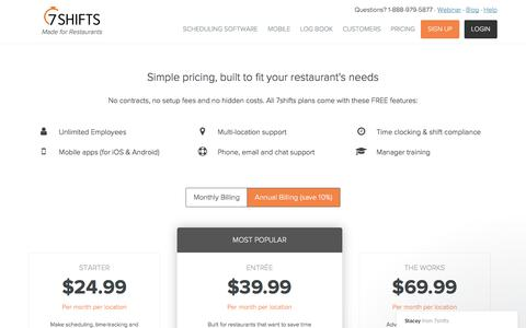 Pricing for Restaurant Scheduling Software | 7shifts