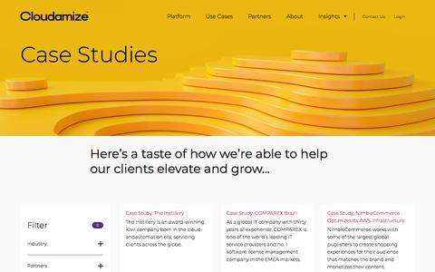 Screenshot of Case Studies Page cloudamize.com - Case Studies - captured July 11, 2019