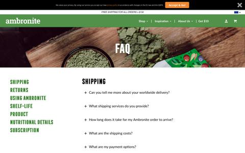 Screenshot of FAQ Page ambronite.com - Ambronite - Drinkable Supermeal - Healthy Shake - FAQ - Ambronite US - captured April 5, 2019