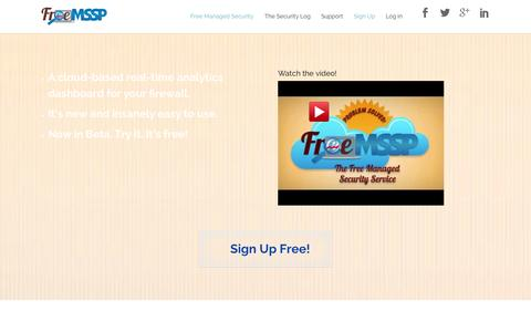 Screenshot of Home Page Signup Page freemssp.com - FreeMSSP | Managed Security | Managed Security Service Providers - captured Sept. 30, 2014