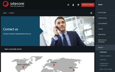 Screenshot of Contact Page sitecore.net - Content Manager, Content Management Platform | Contact Sitecore Today - captured Jan. 13, 2016
