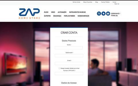 Screenshot of Signup Page zaphome.com.br - Criar Nova Conta de Cliente - captured Sept. 21, 2018