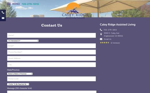 Screenshot of Contact Page milestoneretirement.com - Contact Caley Ridge Assisted Living - captured Jan. 25, 2017