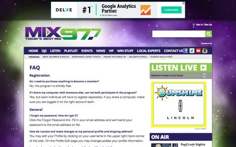 Screenshot of FAQ Page mix97fm.com - Mix 97FM – The best music mix – Poughkeepsie - captured June 14, 2016