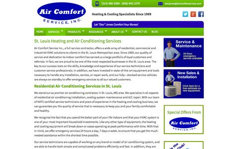 Screenshot of Services Page aircomfortservice.com - St. Louis Heating and Air Conditioning Services - captured Sept. 22, 2014