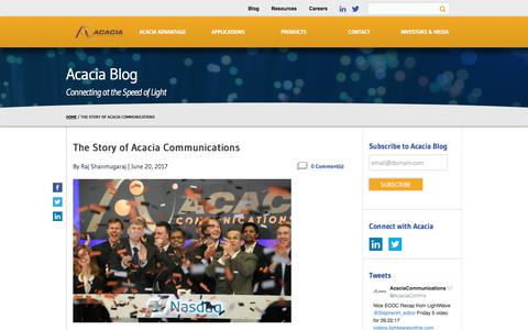 The Story of Acacia Communications - Acacia Communications