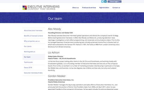 Screenshot of Team Page executiveinterviews.biz - Our team - Executive Interviews - - captured July 24, 2018