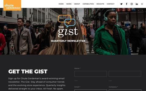 Screenshot of Signup Page chutegerdeman.com - Quarterly Email Newsletter The Gist | Chute Gerdeman - captured July 17, 2018
