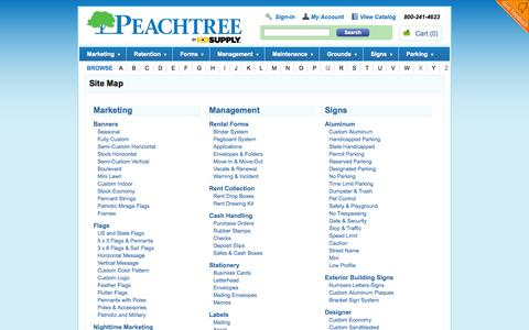 Screenshot of Site Map Page pbp1.com - Browse Our Selection of Apartment & Property Management Supplies - Peachtree by HD Supply - captured Sept. 19, 2014