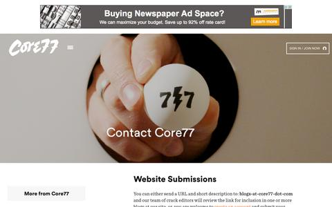 Screenshot of Contact Page core77.com - Contact - Core77 - captured July 24, 2015