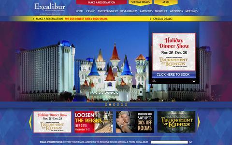 Screenshot of Home Page excalibur.com - Las Vegas Hotels - Excalibur Hotel Casino Las Vegas - Las Vegas Deals - captured Nov. 23, 2015