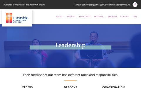 Screenshot of Team Page eastsidecommunity.org - Leadership | Eastside Community Church - captured Sept. 26, 2018