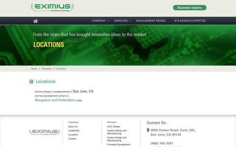 Screenshot of Locations Page eximiusdesign.com - Eximius-Locations - captured Sept. 26, 2014