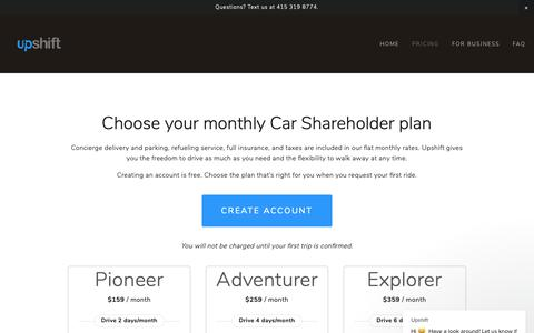 Screenshot of Pricing Page upshiftcars.com - Upshift says… - captured Nov. 16, 2018