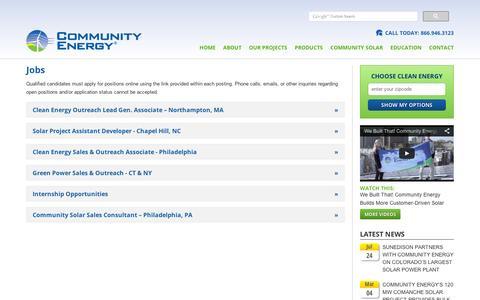 Screenshot of Jobs Page communityenergyinc.com - Jobs   Community Energy - captured Sept. 11, 2014