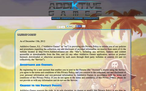 Screenshot of Privacy Page addiktivegames.net - Fun and Free Mobile Games for your iOS device | Addiktive Games - captured Sept. 30, 2014
