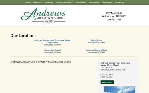 Screenshot of Locations Page andrewsmortuary.com - Andrews Mortuary & Crematory | Facility | Andrews Mortuary and Crematory Market Street Chapel - captured Oct. 3, 2018