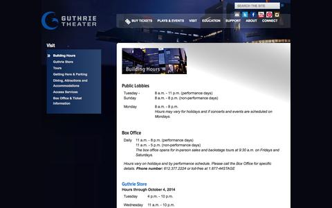 Screenshot of Hours Page guthrietheater.org - Building Hours | Guthrie Theater - captured Sept. 19, 2014