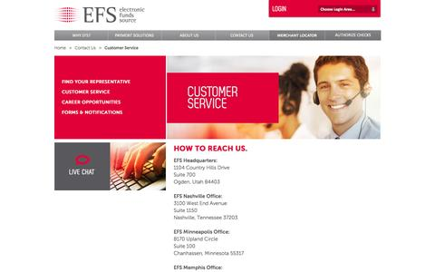 Screenshot of Support Page efsllc.com - EFS | Electronic Funds Source | Contact Us | Customer Service - captured Oct. 2, 2014