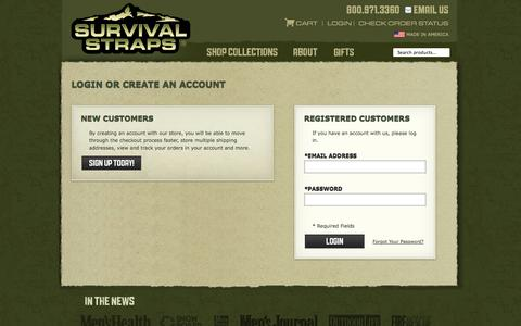 Screenshot of Login Page survivalstraps.com - Paracord Bracelets, Survival Gear & Survival Straps - captured Sept. 25, 2014