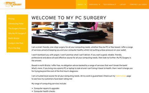 Screenshot of About Page mypcsurgery.com - About - My PC Surgery - captured Sept. 20, 2018