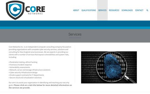 Screenshot of Services Page corenetworksinc.com - Core Network Inc's list of Services. - captured Nov. 5, 2018