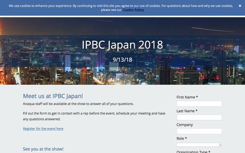 Screenshot of Landing Page anaqua.com - IPBC Japan 2018 - captured Sept. 19, 2018