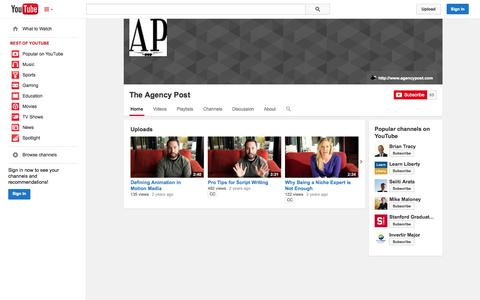 Screenshot of YouTube Page youtube.com - The Agency Post  - YouTube - captured Oct. 26, 2014