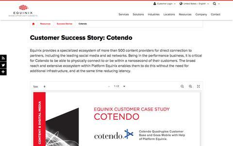 Screenshot of Case Studies Page equinix.com - Cotendo Customer Success Story - captured Dec. 29, 2017