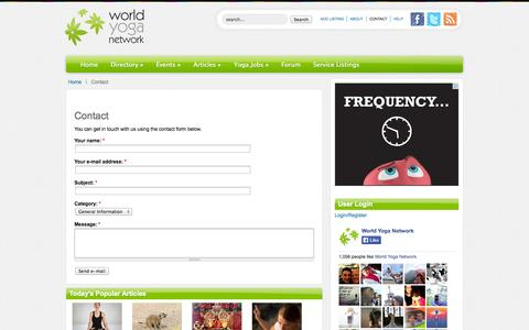 Screenshot of Contact Page worldyoganetwork.com - Contact - captured Oct. 7, 2014