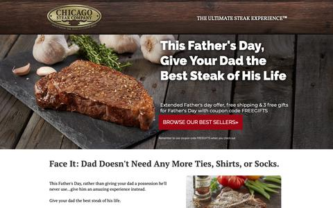 Screenshot of Landing Page mychicagosteak.com - Best Father's Day Steaks from Chicago Steak Company! - captured Sept. 30, 2018