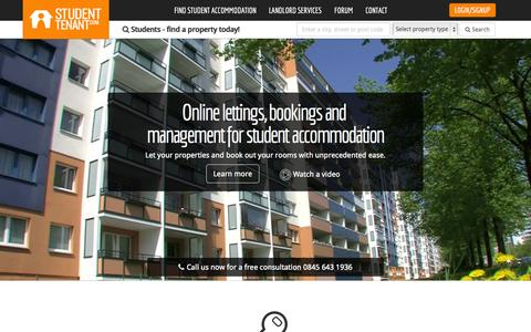 Screenshot of Home Page studenttenant.com - Find student accommodation | Student Tenant - captured Sept. 22, 2014