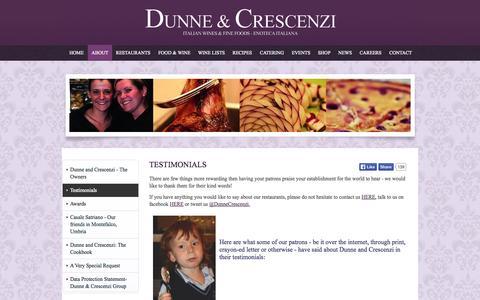 Screenshot of Testimonials Page dunneandcrescenzi.com - Reviews & Testimonials - captured Oct. 1, 2014