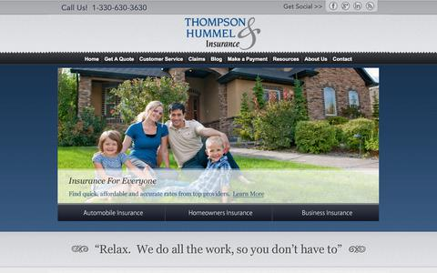 Screenshot of Home Page t-hins.com - Auto, Home, Life & Business Insurance - Thompson and Hummel Insurance - captured Sept. 24, 2018