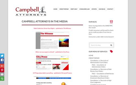 Screenshot of Press Page legalrights.co.za - Campbell Attorneys in the media - captured Jan. 25, 2016