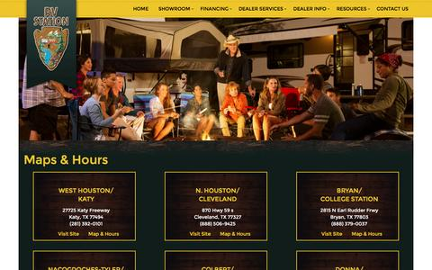 Screenshot of Locations Page rvstation.com - RV Station Hours and Locationsin Katy, Cleveland, Bryan, Nacogdoches, Donna, TX & Colbert, OK | RV Station Dealership - captured Dec. 1, 2016