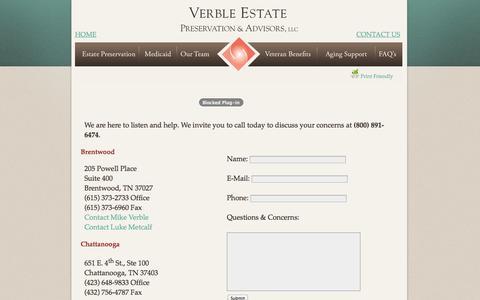 Screenshot of Contact Page verbleseniorsolutions.com - Verble Estate Preservation & Advisors, LLC. - captured Nov. 5, 2014