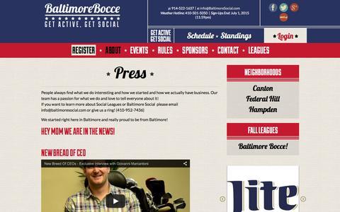 Screenshot of Press Page baltimorebocce.com - Press - Baltimore Bocce - captured Feb. 7, 2016