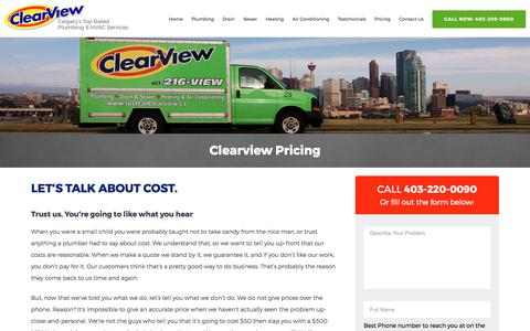Screenshot of Pricing Page clearviewplumbing.ca - Pricing and How we Do Business | ClearView Plumbing - captured Sept. 19, 2017