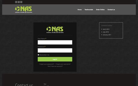 Screenshot of Login Page nasrx.com - login - captured Oct. 27, 2014
