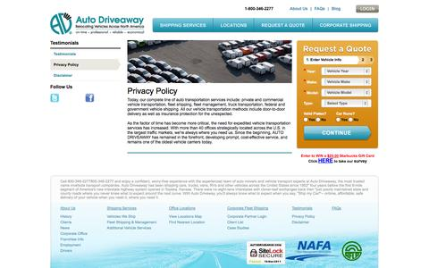 Screenshot of Privacy Page autodriveaway.com - Autodriveaway | Privacy Policy: Shipping Car Companies, Car Transport Service, Auto Transporter, Auto Transport Carriers - captured Sept. 23, 2014
