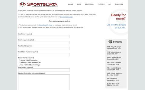 Screenshot of Support Page sportsdatallc.com - Sports Data API - Get Customer Support | SportsData - captured Sept. 19, 2014