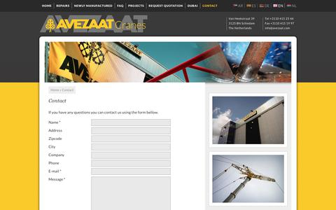 Screenshot of Contact Page avezaat.com - Contact - Avezaat Cranes - captured Oct. 9, 2017