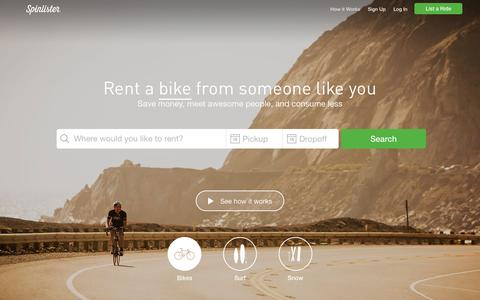 Screenshot of Home Page spinlister.com - Find a ride to rent | Spinlister - captured Oct. 1, 2015
