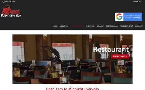 Screenshot of Menu Page boisestagestop.org - Restaurant | Boise Stage Stop - captured Nov. 6, 2018