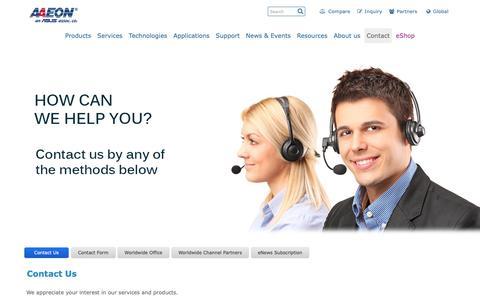 Screenshot of Contact Page aaeon.com - Contact Us - captured Oct. 2, 2018