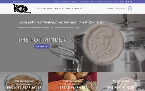 Screenshot of Home Page jbkpottery.com - JBK Pottery - Your Source for Unique Kitchen Gadgets - captured Oct. 1, 2018