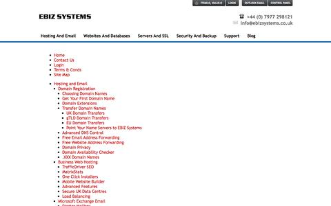 Screenshot of Site Map Page ebizsystems.co.uk - EBIZ Systems Site Map - captured Sept. 26, 2014