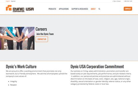 Screenshot of Jobs Page dynic.com - Careers at Dynic - captured Oct. 6, 2016