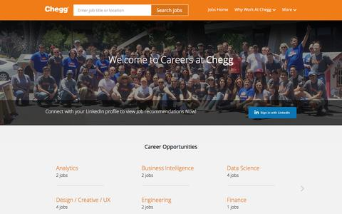 Screenshot of Jobs Page chegg.com - Careers at Chegg | Chegg jobs - captured March 27, 2016